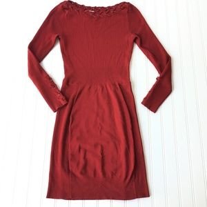 Cache Red Ribbed Stretch Knit Sexy Dress Career